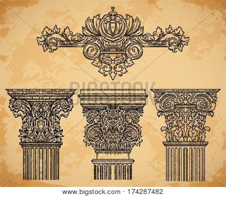 Vintage architectural details design elements on aged paper background. Antique baroque classic style column and cartouche. Hand drawn vector illustration
