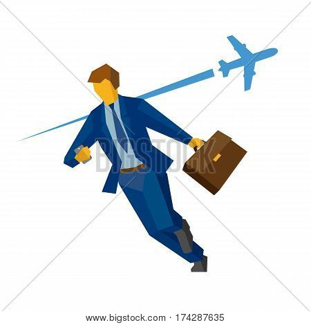 Businessman with smartphone and case rushing. With flying airplane on the background. Business concept - hurry lateness lost time. Flat vector clip art.