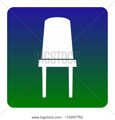 Office chair sign. Vector. White icon at green-blue gradient square with rounded corners on white background. Isolated.