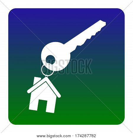 key with keychain as an house sign. Vector. White icon at green-blue gradient square with rounded corners on white background. Isolated.