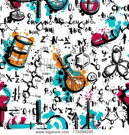 Vintage seamless pattern old chemistry laboratory with tubes and formulas. Hand drawn vector illustration in watercolor style
