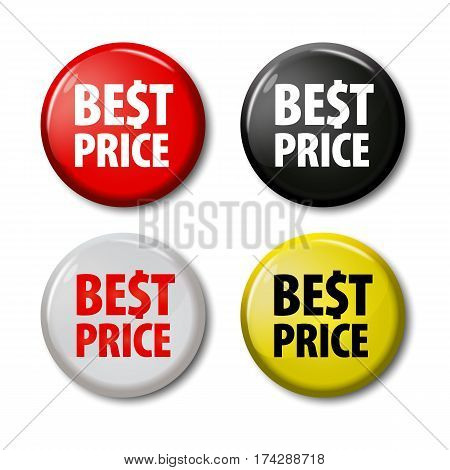 Set Of Buttons With Words 'best Price'