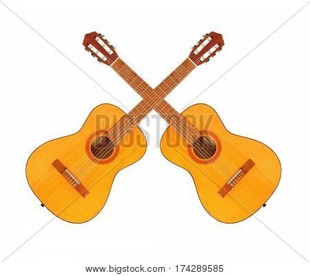 Two crossed acoustic guitars. Musical instrument isolated on white background. Traditional Country and Western music theme.
