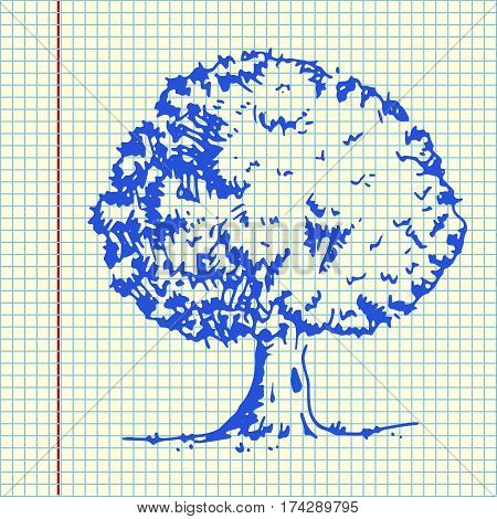 Tree with green leaves. Hand drawn vector stock illustration. Sheet ball pen drawing