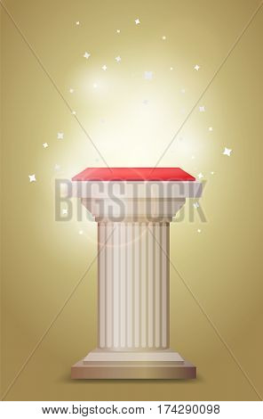 Light bronze column pedestal with bright backlight and sparcles around, color vector illustration