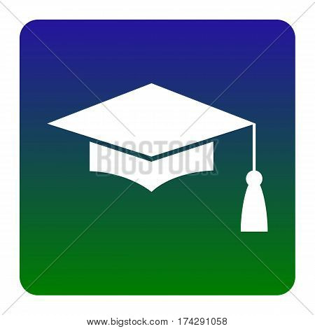 Mortar Board or Graduation Cap, Education symbol. Vector. White icon at green-blue gradient square with rounded corners on white background. Isolated.
