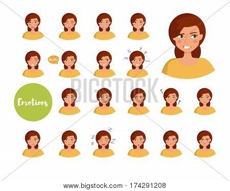 Woman with different emotions. Joy, sadness, anger, talking, funny, fear, smile. Set Isolated illustration on white background Vector Cartoon Flat Face expressions