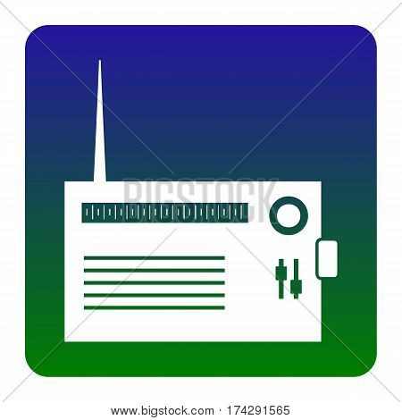 Radio sign illustration. Vector. White icon at green-blue gradient square with rounded corners on white background. Isolated.