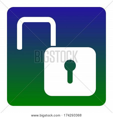 Unlock sign illustration. Vector. White icon at green-blue gradient square with rounded corners on white background. Isolated.