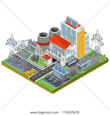 Vector isometric illustration of a thermal power plant for the production of electrical energy to the smoke stacks of industrial buildings and power lines