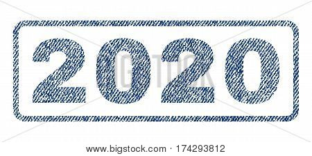 2020 text textile seal stamp watermark. Blue jeans fabric vectorized texture. Vector tag inside rounded rectangular shape. Rubber emblem with fiber textile structure.