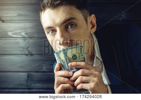 Man Businessman In A Suit With Closed Mouth Bill