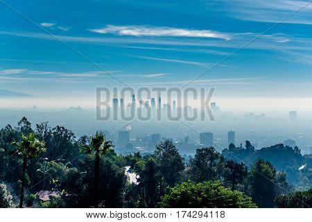 Los Angeles misty skyline, California, USA.