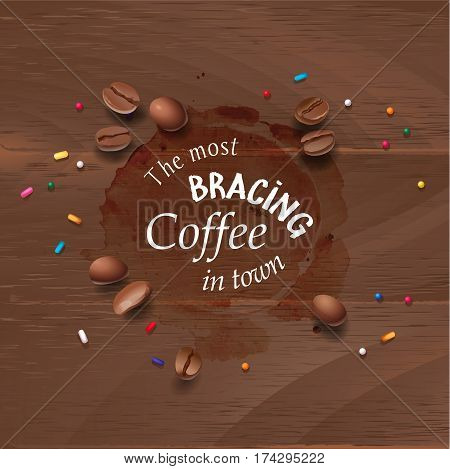 Vector illustration of a coffee stain and coffee beans on a wooden background. Advertising space.