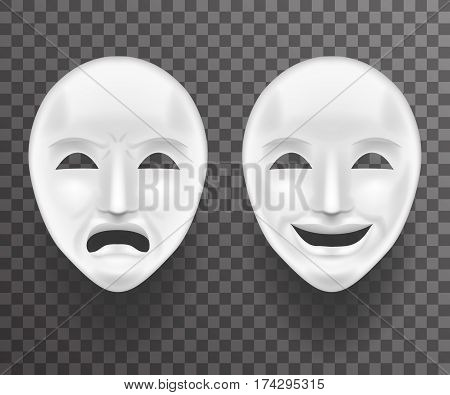 Theatrical Mask Sadness Joy White Actor Play Face Antique Realistic 3d Transperent Icon Template Background Mock Up Design Vector Illustration