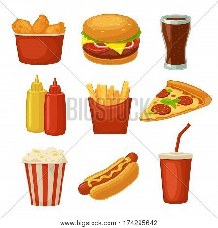 Set fast food icon. Cup cola chips burrito hamburger pizza chicken legs hotdog fry potato in paper box carton bucket popcorn ketchup. Isolated white background. Vector flat color illustration
