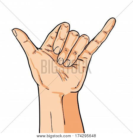 Vector hand shoving shaka gesture. Illustration in comic style isolated on white