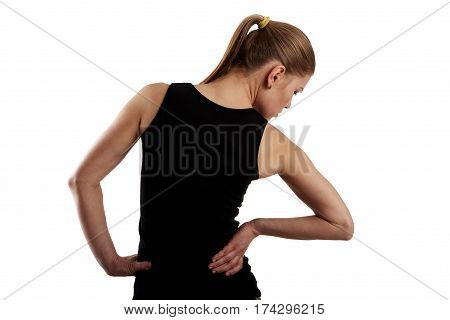 Painful hip on female body. Concept of backbone disease therapy.