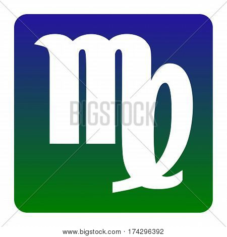 Virgo sign illustration. Vector. White icon at green-blue gradient square with rounded corners on white background. Isolated.