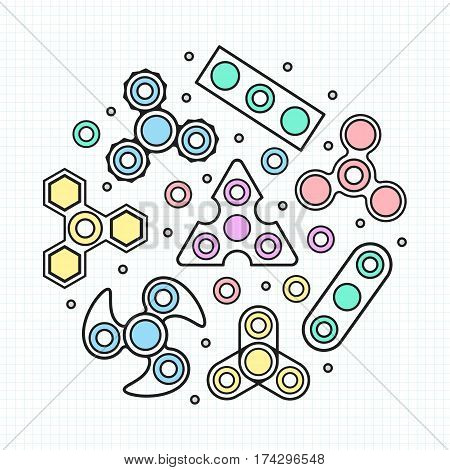 Hand Spinners set  illustration. Vector icons set
