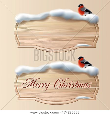 Two vector wooden board - signs powdered snow with sitting bullfinches. Design element for greeting cards, invitation cards, ads.