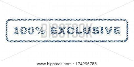 100 Percent Exclusive text textile seal stamp watermark. Blue jeans fabric vectorized texture. Vector caption inside rounded rectangular banner. Rubber sign with fiber textile structure.