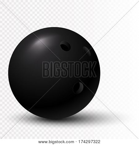 Black Bowling Ball isolated on transparent background. Vector illustration