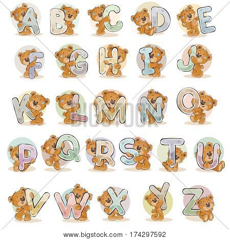 Set of vector letters of the English, the Latin alphabet are in the clutches of funny teddy bear.