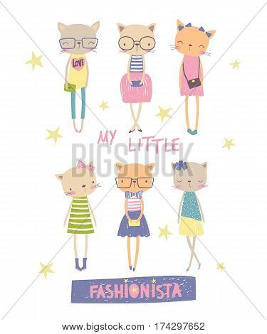 My little fashionista. T-shirt graphic for kid's clothing. Vector illustration can use for print design surface design fashion kids wear