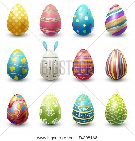 Easter eggs painted with spring pattern. Decoration retro multi colored collection. Vintage ornament organic food holiday symbol vector illustration.