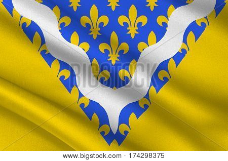 Flag of Val-de-Marne is a French department in the region of Ile-de-France. 3d illustration