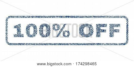 100 Percent Off text textile seal stamp watermark. Blue jeans fabric vectorized texture. Vector caption inside rounded rectangular banner. Rubber sign with fiber textile structure.