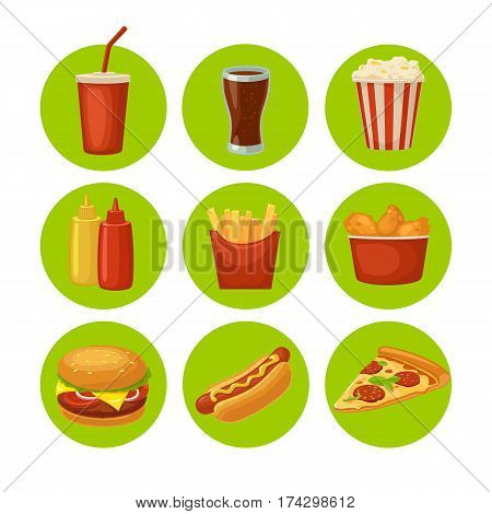 Set fast food icon. Cup cola, chips, burrito, hamburger, pizza, chicken legs, hotdog, fry potato in paper box, carton bucket popcorn, ketchup. Isolated green circle. Vector flat color illustration
