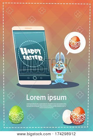 Rabbit Hold Cell Smart Phone Decorated Colorful Eggs Easter Holiday Symbols Greeting Card Vector Illustration
