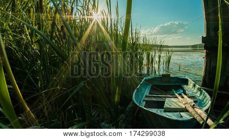 Wooden Boat With Oars In The Reeds On The Shore Of The Lake On A Sunny Day In The Countryside, Outdo