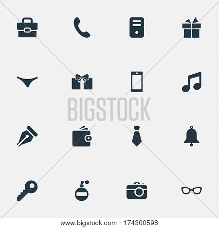Set Of 16 Simple Instrument Icons. Can Be Found Such Elements As Billfold, Fragrance, Ring And Other.