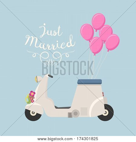 Retro vector wedding vespa scooter motorcycle travel design. Motorbike delivery vehicle illustration. Transportation moped cartoon motor urban sign.
