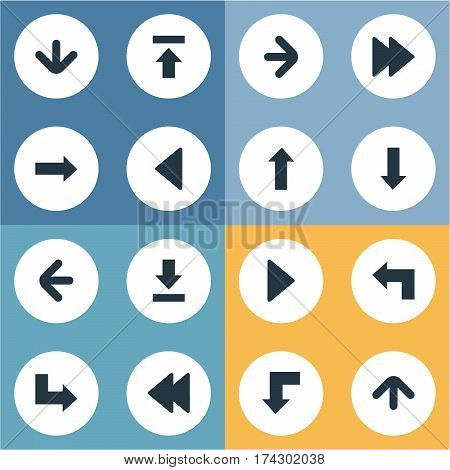 Set Of 16 Simple Arrows Icons. Can Be Found Such Elements As Left Landmark , Let Down, Right Direction.