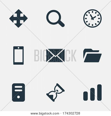 Set Of 9 Simple Practice Icons. Can Be Found Such Elements As Statistics, Arrows, Message And Other.