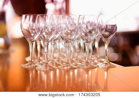 Lots Of Wine Glasses During Some Festive Event