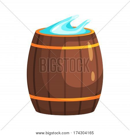 Wooden Barrel With Water, Part Of Russian Steam House Series Of Flat Funny Cartoon Illustrations. Sauna Washing And Russian Hygiene Culture Related Isolated Drawing.