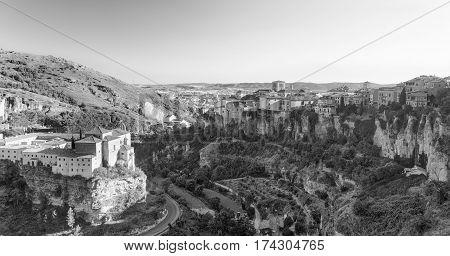 Cuenca (Castilla-La Mancha Spain) the famous casas colgadas Unesco World Heritage SIte. Black and white