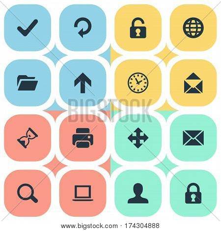 Set Of 16 Simple Practice Icons. Can Be Found Such Elements As Refresh, Printout, Open Padlock And Other.