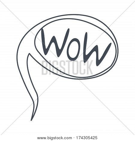 Word Wow, Hand Drawn Comic Speech Bubble Template, Isolated Black And White Hand Drawn Clipart Object. Sketch Style Monochrome Sticker With Speech Balloon For Cartoons And Comics.