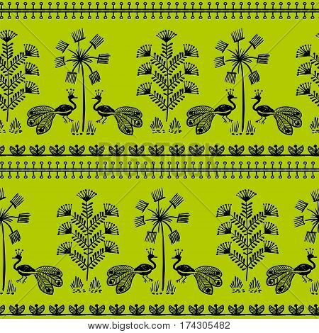 Warli Art painting seamless pattern - hand drawn traditional the ancient tribal art India. Pictorial language is matched by a rudimentary technique depicting rural life of the inhabitants of India