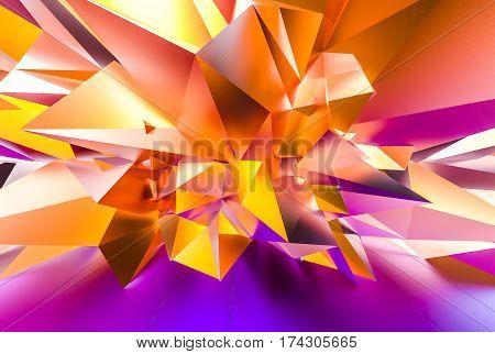 Colorfull random polygonal wall. 3D illustration .
