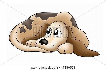 Color illustration of cute brown dog.
