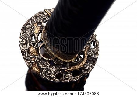 Tsuba : Hand Guard Of Japanese Sword With White Background