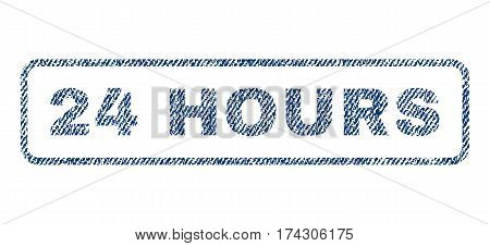 24 Hours text textile seal stamp watermark. Blue jeans fabric vectorized texture. Vector caption inside rounded rectangular banner. Rubber emblem with fiber textile structure.