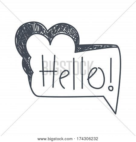 Word Hello, Hand Drawn Comic Speech Bubble Template, Isolated Black And White Hand Drawn Clipart Object. Sketch Style Monochrome Sticker With Speech Balloon For Cartoons And Comics.